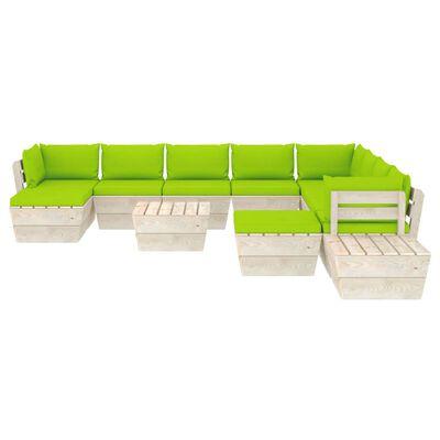 vidaXL Pallsoffa för trädgården med dynor 12 delar granträ