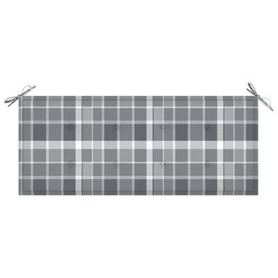 vidaXL Dyna för trädgårdsbänk grått rutmönster 120x50x4 cm tyg
