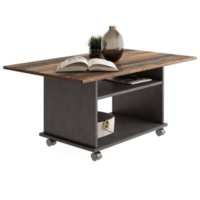 FMD Soffbord med hjul gammeldags brun och svart