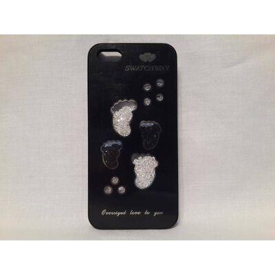 Apple Iphone 5 5S Fodral Skal Case Med Beads (Feets) Svart