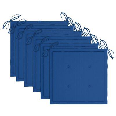 vidaXL Hopfällbara trädgårdsstolar med dynor 6 st massivt akaciaträ, Blue