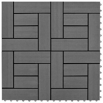 Balkongplattor Grå WPC 30 x 30 cm 11 st