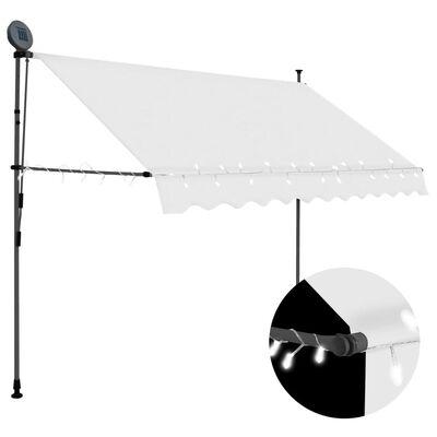 vidaXL Markis manuellt infällbar med LED 250 cm gräddvit