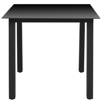 vidaXL Trädgårdsbord svart 80x80x74 cm aluminium och glas