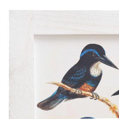 vidaXL Rumsavdelare 5 paneler vit 175x165 cm fåglar