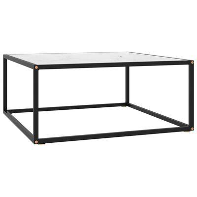 vidaXL Soffbord med vit marmor glas 80x80x35 cm