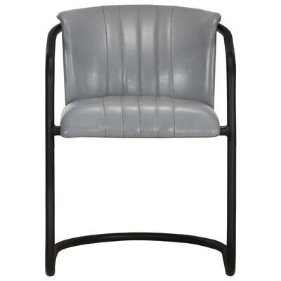 vidaXL Matstolar 4 st grå äkta läder, Grey