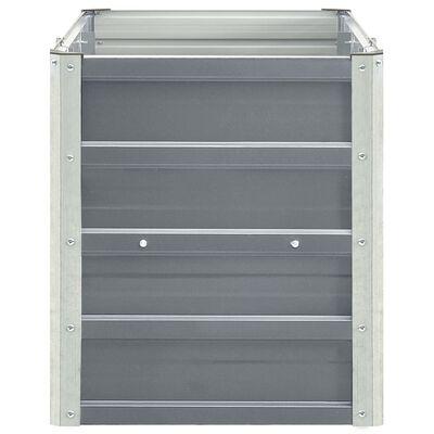 vidaXL Odlingslåda upphöjd galvaniserat stål 240x40x45 cm grå