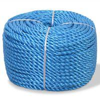 vidaXL Tvinnat rep i polypropylen 16 mm 100 m blå
