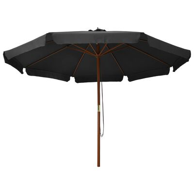 vidaXL Trädgårdsparasoll med trästång 330 cm antracit