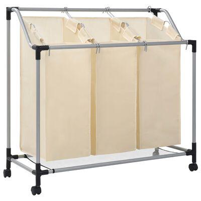 vidaXL Tvättsorterare med 3 påsar gräddvit stål
