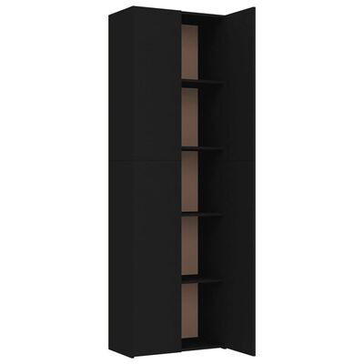 vidaXL Kontorsskåp svart 60x32x190 cm spånskiva