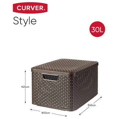 Curver Style Förvaringslåda med lock 3 st strl. L brun 240651