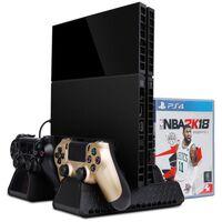 Multifunktionellt PS4 stativ med fläkt, laddstation och förvaring