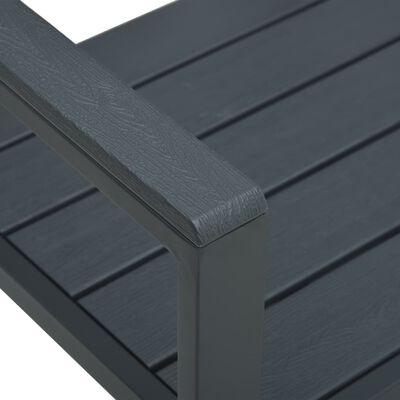 vidaXL Trädgårdsbänk 120 cm HDPE grå träutseende
