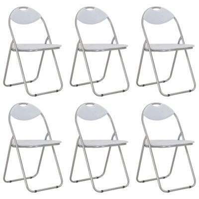 vidaXL Hopfällbara matstolar 6 st vit konstläder