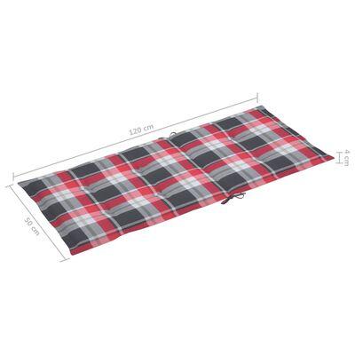 vidaXL Dynor för trädgårdsstolar 2 st rött rutmönster 120x50x7 cm
