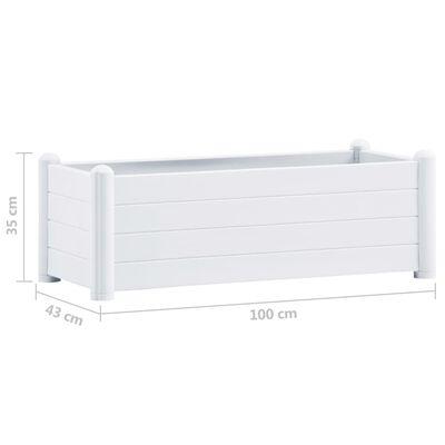 vidaXL Upphöjd odlingslåda PP vit 100x43x35 cm
