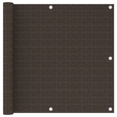 vidaXL Balkongskärm brun 90x600 cm HDPE