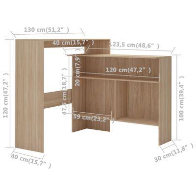 vidaXL Barbord med 2 bordsskivor ek 130x40x120 cm