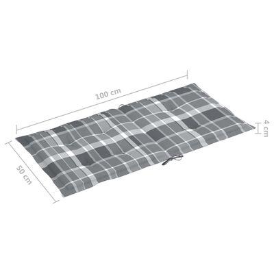 vidaXL Dynor för trädgårdsstolar 2 st grått rutmönster 100x50x7 cm