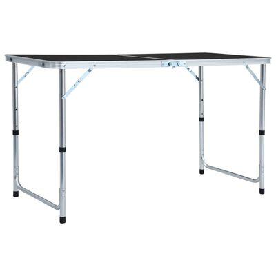 vidaXL Hopfällbart campingbord grå aluminium 120x60 cm
