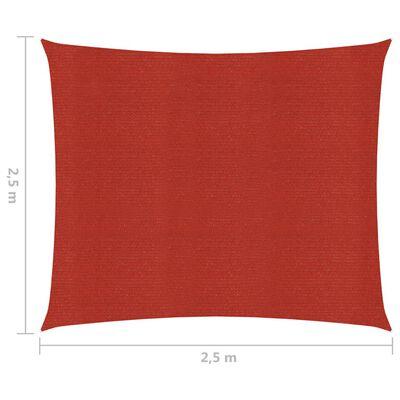 vidaXL Solsegel 160 g/m² röd 2,5x2,5 m HDPE