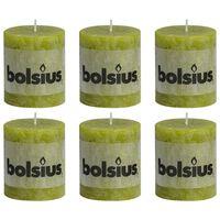 Bolsius Rustika blockljus 6 st 80x68 mm mossgrön