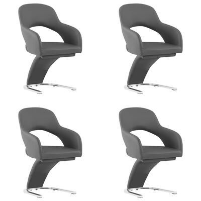 vidaXL Matstolar 4 st grå konstläder, Grey