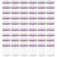vidaXL Syltburkar i glas med vita och lila lock 48 st 400 ml