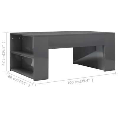 vidaXL Soffbord grå högglans 100x60x42 cm spånskiva