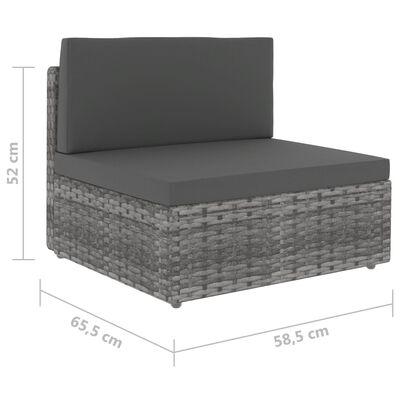 vidaXL Mittensits till modulsoffa konstrotting grå