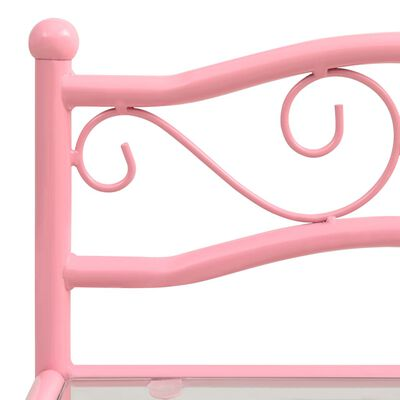 vidaXL Sängbord rosa och transparent 43x33x65 cm metall och glas