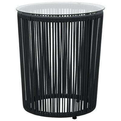 vidaXL Bistrogrupp 3 delar med dynor PVC-rotting svart