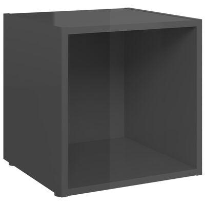 vidaXL TV-bänk grå högglans 37x35x37 cm spånskiva