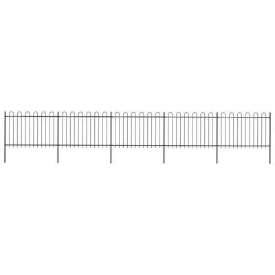 vidaXL Trädgårdsstaket med böjd topp stål 8,5x1,2 m svart