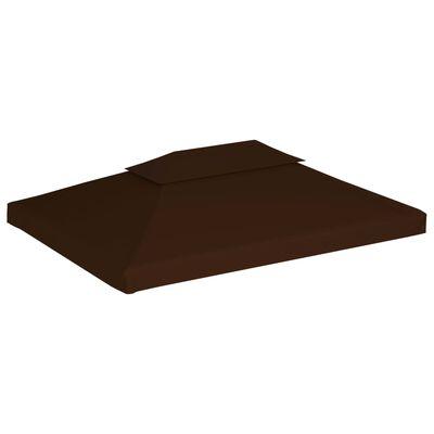 vidaXL Paviljongtak med ventilering 310 g/m² 4x3 m brun