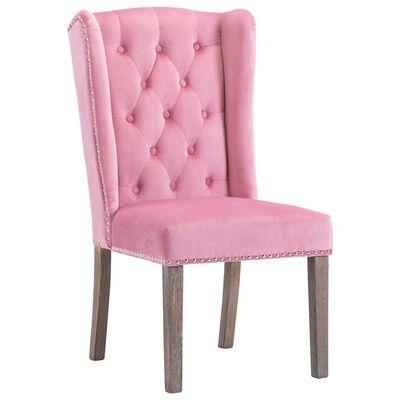 vidaXL Matstol rosa sammet