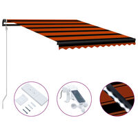 vidaXL Infällbar markis med vindsensor & LED 300x250 cm orange & brun