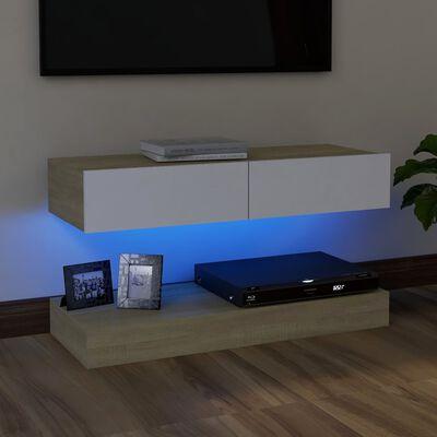 vidaXL TV-bänk med LED-belysning vit och sonoma-ek 90x35 cm