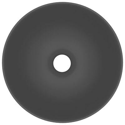 vidaXL Handfat keramik mörkgrå rund