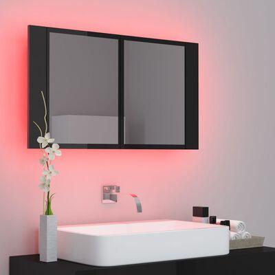 vidaXL Spegelskåp för badrum LED svart högglans 80x12x45 cm