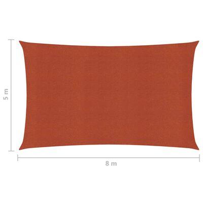 vidaXL Solsegel 160 g/m² terrakotta 5x8 m HDPE