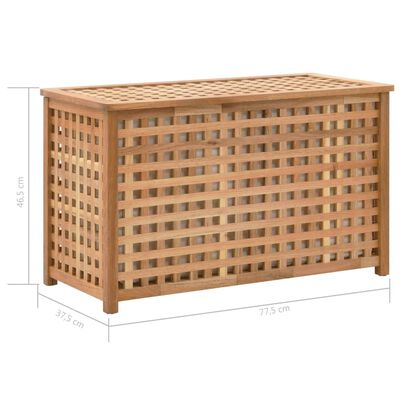 vidaXL Tvättkorg 77,5x37,5x46,5 cm massivt valnötsträ