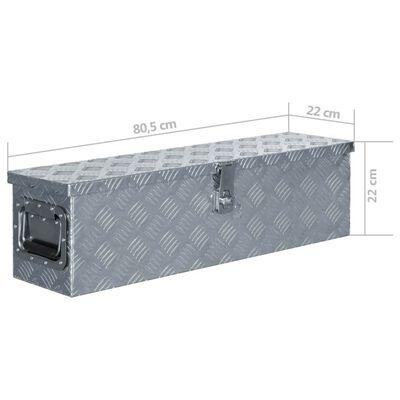 vidaXL Förvaringslåda aluminium 80,5x22x22 cm silver