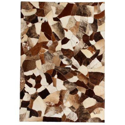 vidaXL Matta äkta läder lappad slumpmässig 160x230 cm brun/vit