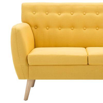 vidaXL 3-sitssoffa med tygklädsel 172x70x82 cm gul