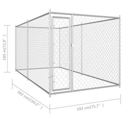 vidaXL Hundgård för utomhusbruk 382x192x185 cm