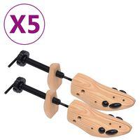 vidaXL Skoblock 5 par stl. 41-46 massiv furu