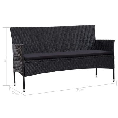 vidaXL Trädgårdssoffa 3-sits med dynor svart konstrotting